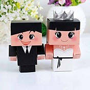 Bride &amp; Groom Favor Box With Silver Crown (Set of 12)