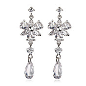 Gorgeous Platinum Plated Cubic Zirconia Chandelier Earrings(More Colors)