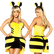 Lindo Sexy Bee Bumble amarillo cosplay costume (3 Piezas)