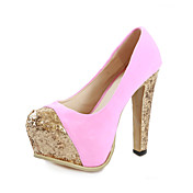 Suede Chunky Heel Pumps With Sparkling Glitter Party / Evening Shoes (More Colors)