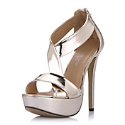 Amazing Leatherette Stiletto Heel Sandals With Platform Party / Evening Shoes