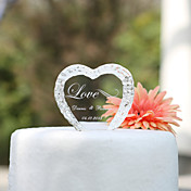 Personalized Crystal Heart Wedding Cake Topper