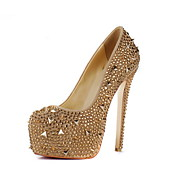 Couro Stiletto Heel Bombas com strass / rebite partido / Evening Shoes
