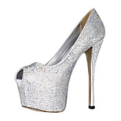 Gorgeous Satin Stiletto Heel Peep Toe With Rhinestone Wedding/Evening Shoes