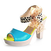 Chic Patent Leather Chunky Heel Sandals With Animal Print Party / Evening / Shoes (More Colors)