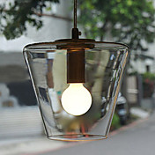 40W Contemporary Pendant Light with High-transparent Glass Shade