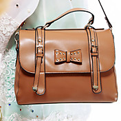 Lady's Vintage Simple Bow Satchel/Crossbody Bag