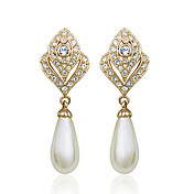 High Quality Alloy And Imitation Pearls 18K Gold Plated Earrings(Length x Width: 47 x 17 mm  )