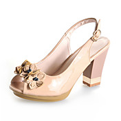 Patent Leather Chunky Heel Slingbacks With Flower Party / Evening Shoes (More Colors)