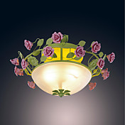 120W Nature Inspired Ceiling Light With 3 Lights and Glass Shade in Leaf and Flower Design E27/E26