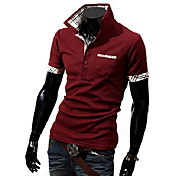 Men's Plaid Shirt Collar Polo Short Sleeve T-Shirt