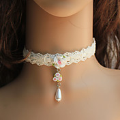Handmade dentelle blanche fleur de rsine Pays collier de Lolita