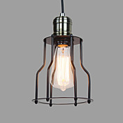 60W Stylish Pendant Light with Metal Frame and Shade in Countryside Design