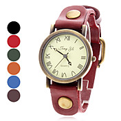 Women's Roman Numbers Style Analog Leather Quartz Wrist Watch (Assorted Colors)