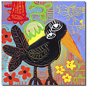 Printed Canvas Art Animal Blackbird Boogie by Sara Catena with Stretched Frame