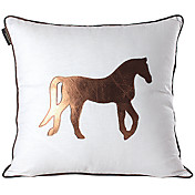 Modern Horse Linen & Leather Decorative Pillow Cover