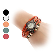 Women's Leather Analog Quartz Bracelet Watch (Assorted Colors)