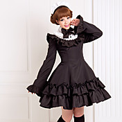 Long Sleeve Knee-length Black Cotton Classic School Lolita Dress