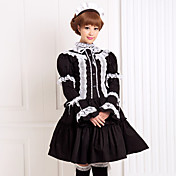 White Lace Black Long Sleeve Blouse Knee-length Skirt CottonClassic Lolita Outfit