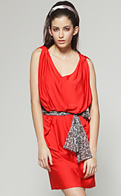 TS Loose V Neck Leopard Belted Funky Dress