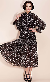 TS Star Print Chiffon Lantern Sleeve Maxi Dress (More Colors)