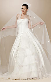 One-tier Tulle Scalloped Edge Chapel Wedding Veil With Satin Flower