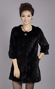 3/4 Sleeve Collarless Evening Mink Fur Coat
