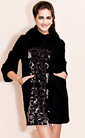 TS Sequin Details Fur Collar Wool Blend Coat