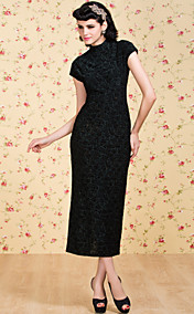 TS VINTAGE Print Velvet Sheath Dress