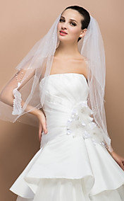 Two-tier Elbow Cute Edge Wedding Veil With Peacock Pattern