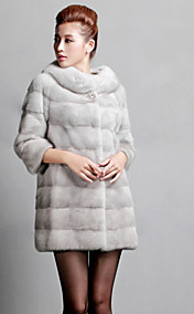 3/4 Sleeve Collarless Mink Fur Party/Office Coat