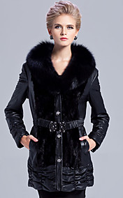 Fantastic Long Sleeve Fox Fur Shawl Collar Lambskin Leather With Mink Fur Casual/Party Coat