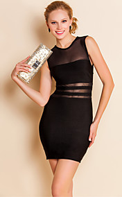 TS Mesh Front Sleeveless Bodycon Bandage Dress