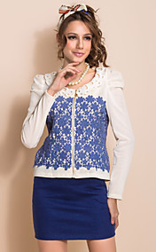 TS Contrast Color Lace Patched Long Sleeve Jacket