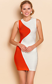 TS Contrast Color Slim Vest Bodycon Bandage Dress