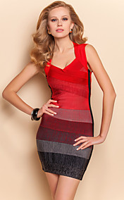 TS Gradient Color Halter Bandage Dress
