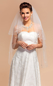 Four-tier Fingertip Wedding Veils With Beaded Edge/Finished Edge