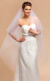 Elegant One-tier Waltz Wedding Veil With Pencil Edge