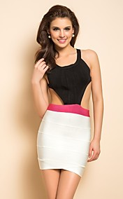 TS Contrast Color Backless Bodycon Bandage Dress