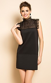 TS Mesh Stitching Jersey Sleeveless Dress