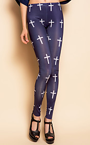 TS Cross Print Elastisk linning Leggings