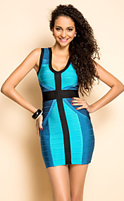 TS Gradient Color V Neck Vest Bodycon Bandage Dress