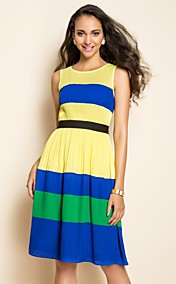 TS Stripes Contrast Color Chiffon Dress
