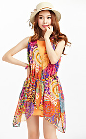TS Print Sleeveless Chain Belt Dress