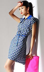 TS Chiffon Shirt Collar Sheath Dress