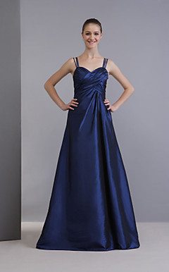 A-line Spaghetti Straps Floor-Length Taffeta Bridesmaid/ Wedding Party Dress