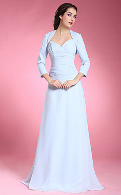 A-line Spaghetti Straps Floor-length Chiffon Mother of the Bride Dress With A Wrap