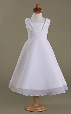 A-line Square  Tea-length Satin  Chiffon Flower Girl Dress