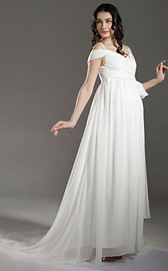 Sheath/ Column Empire Off-the-shoulder Sweep/ Brush Train Maternity Wedding Dress