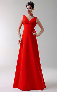 A-line V-neck Floor-length Chiffon Bridesmaid/Wedding Party Dress
